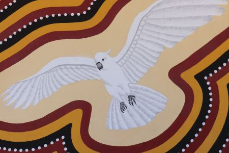 5852 19 Nathan Thomas Larbany (White Cockatoo) 2019 natural pigment on canvas 60x60cm Lakuwang on Bedford Downs Station is my ancestral Country.  Larbany nests in most large trees there like Bloodwood and other gum trees.