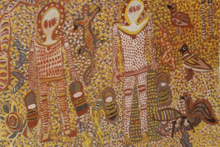 MPC-K00359-16 Mary Punchi Clement Wandjina and his workers 2016 natural pigment on paper 57x76cmjpg