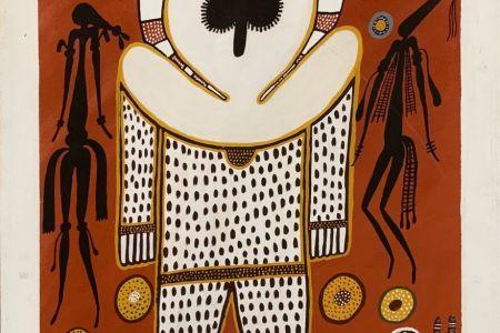 SD-K01080-19 Sylvia Djanghara Wandjina and Spirits 2019 natural pigment on canvas 80x60cm