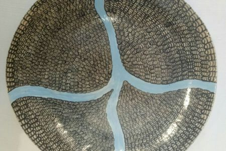 KD-5491-17 Kelly-Anne Drill  Purnululu platter 2017 Raku underglaze decoration glaze