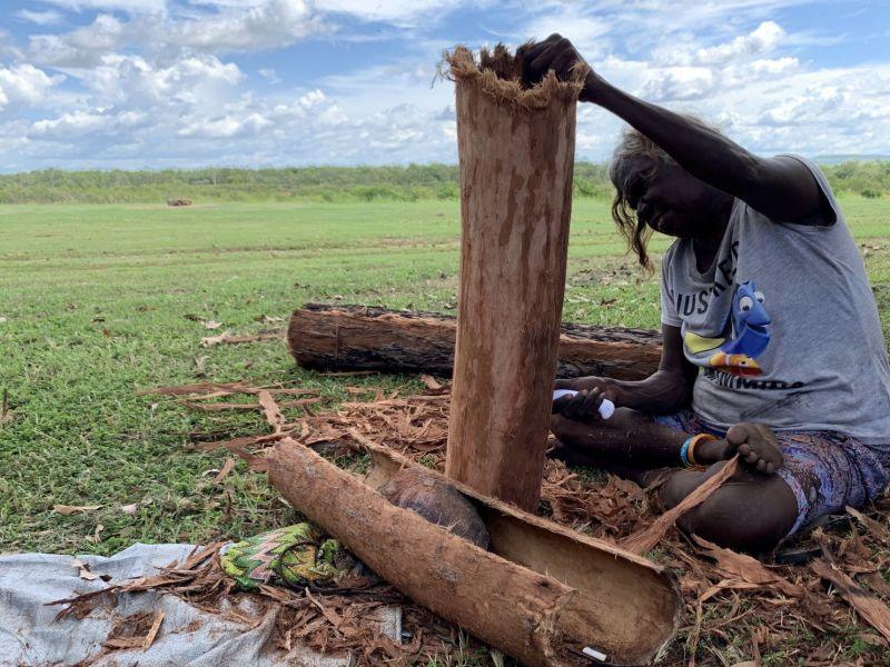 Veronica Djanghara working on bark 2019.jpg