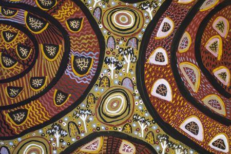 BBK110724-11 Betty Bundamurra Bush Walking natural pigment on paper  76x57cm
