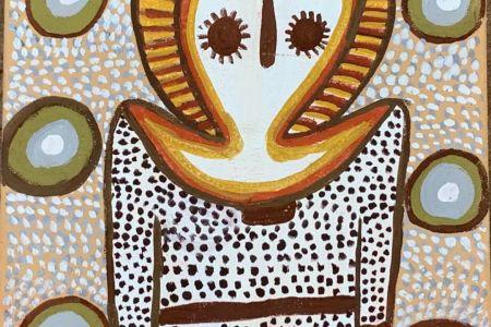 AK-K01090-19 Angelina Karadada Wandjina Making Springwater 2019 natural pigment on canvas