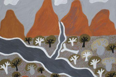 BN-5900-18 Brenda Ningarmara Worre-worrem Creek 2018 natural pigment on canvas 60x60cm
